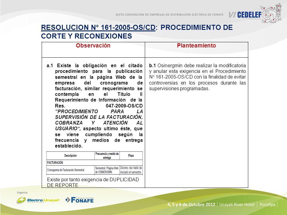 RESOLUCION N° 161-2005-OS/CD: PROCEDIMIENTO DE CORTE Y RECONEXIONES