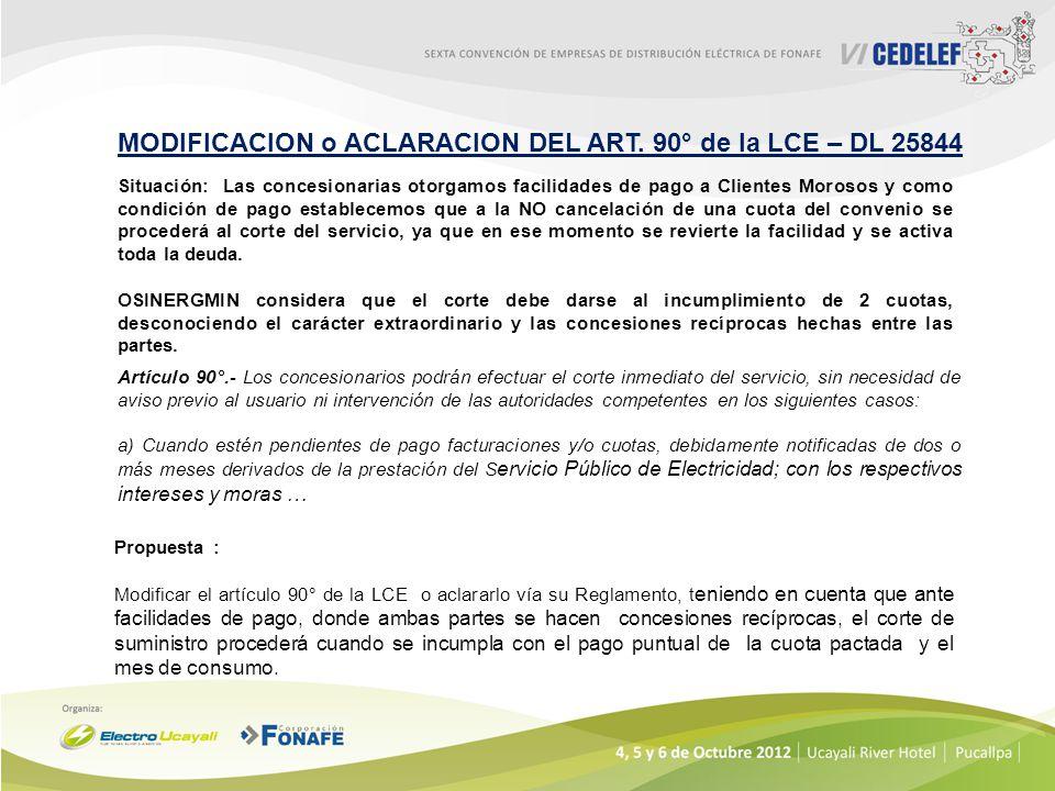 MODIFICACION o ACLARACION DEL ART. 90° de la LCE – DL 25844