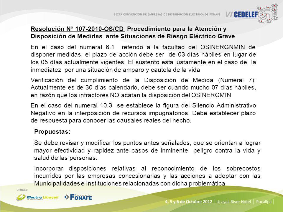 Resolución N° 107-2010-OS/CD Procedimiento para la Atención y Disposición de Medidas ante Situaciones de Riesgo Eléctrico Grave