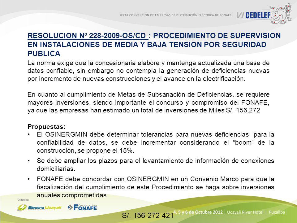 RESOLUCION Nº 228-2009-OS/CD : PROCEDIMIENTO DE SUPERVISION EN INSTALACIONES DE MEDIA Y BAJA TENSION POR SEGURIDAD PUBLICA