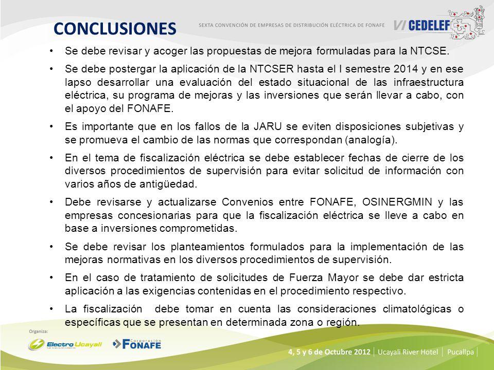 CONCLUSIONES Se debe revisar y acoger las propuestas de mejora formuladas para la NTCSE.