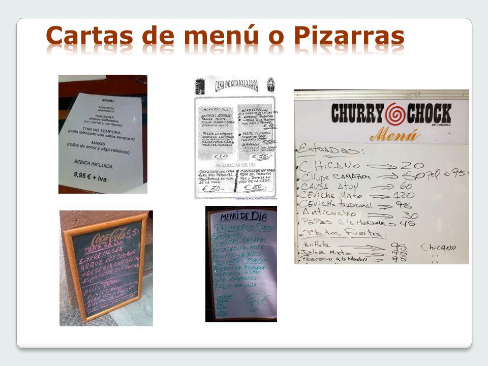 Cartas de menú o Pizarras