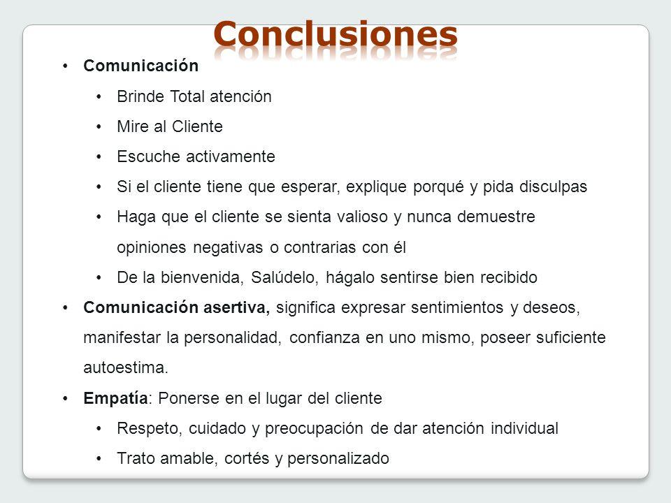 Conclusiones Comunicación Brinde Total atención Mire al Cliente