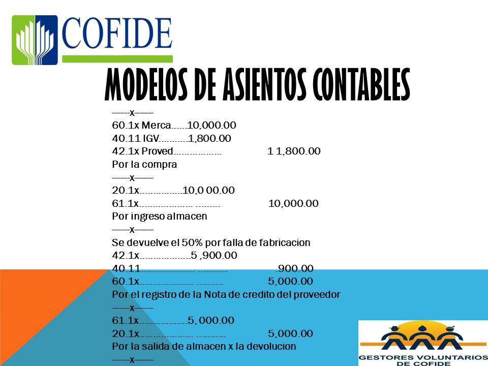 MODELOS DE ASIENTOS CONTABLES