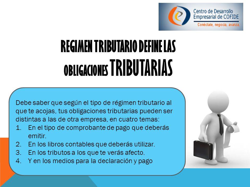 REGIMEN TRIBUTARIO DEFINE LAS