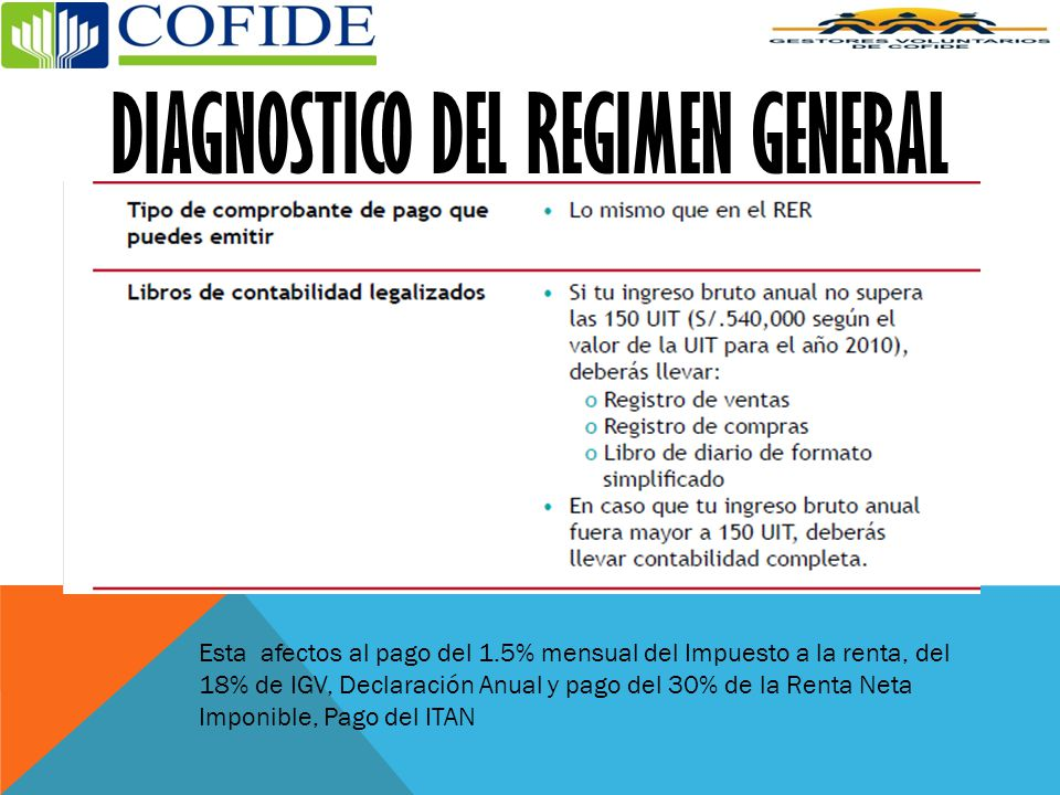 DIAGNOSTICO DEL REGIMEN GENERAL