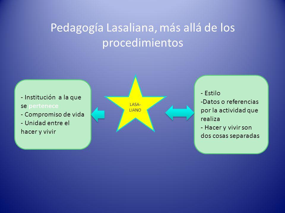 Pedagogía Lasaliana, más allá de los procedimientos