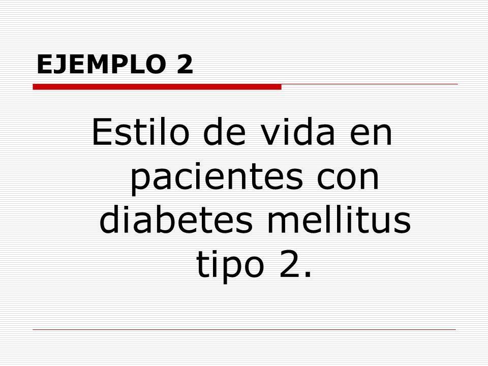 Estilo de vida en pacientes con diabetes mellitus tipo 2.