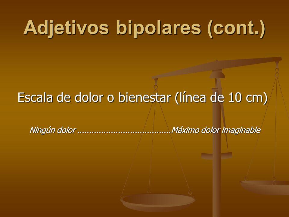 Adjetivos bipolares (cont.)
