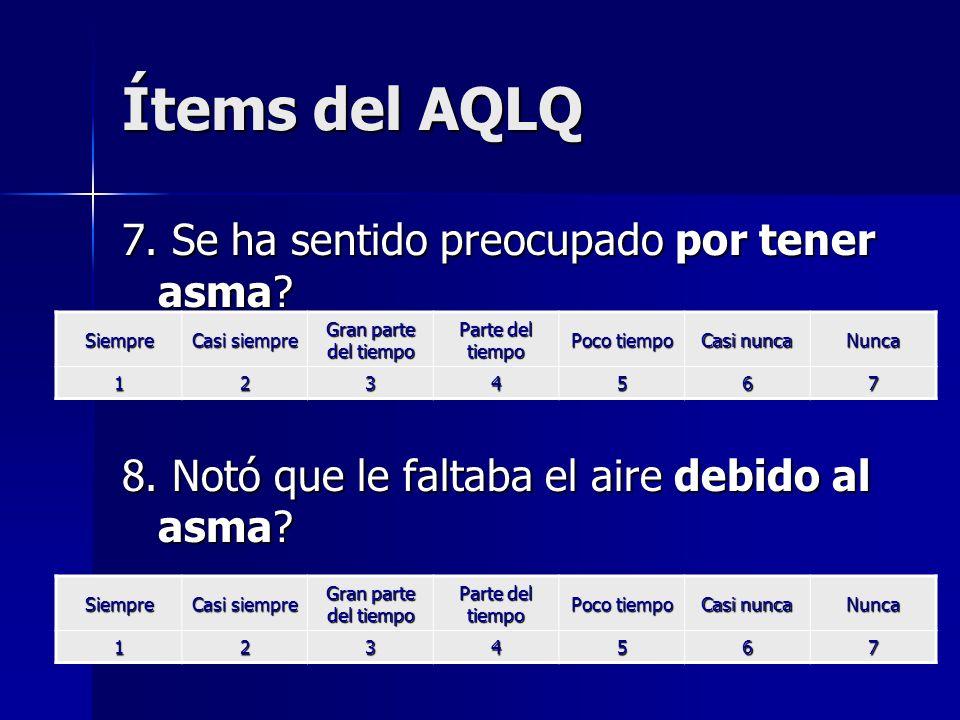 Ítems del AQLQ 7. Se ha sentido preocupado por tener asma