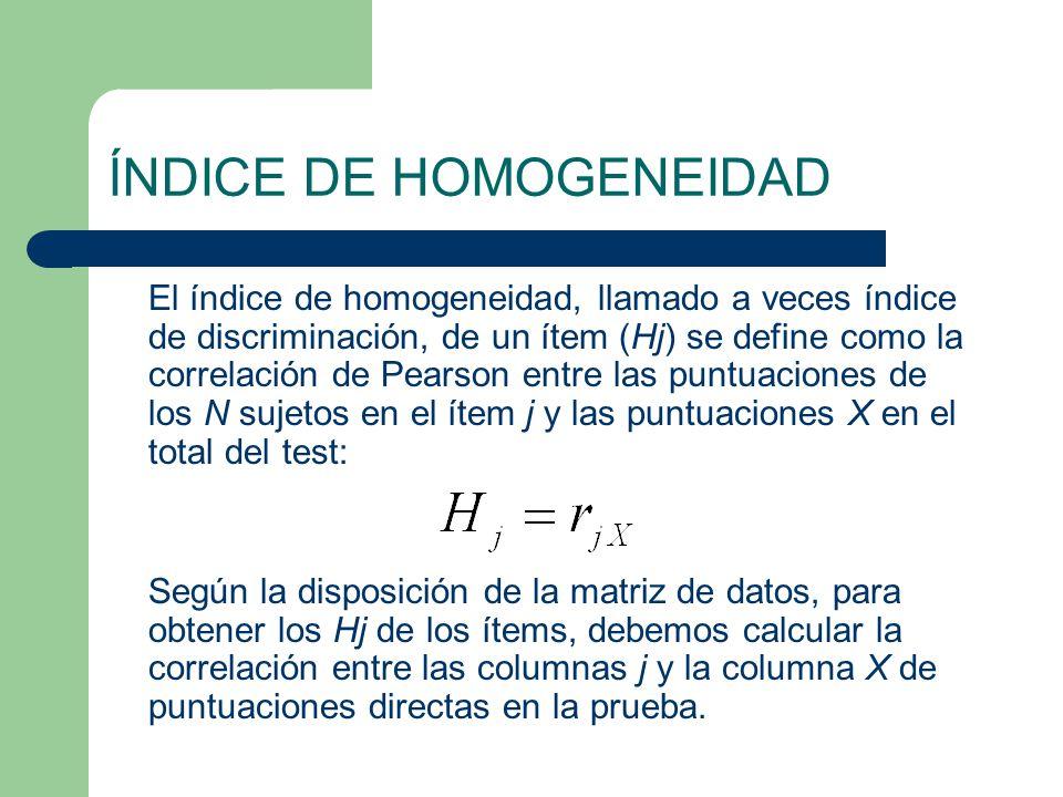 ÍNDICE DE HOMOGENEIDAD