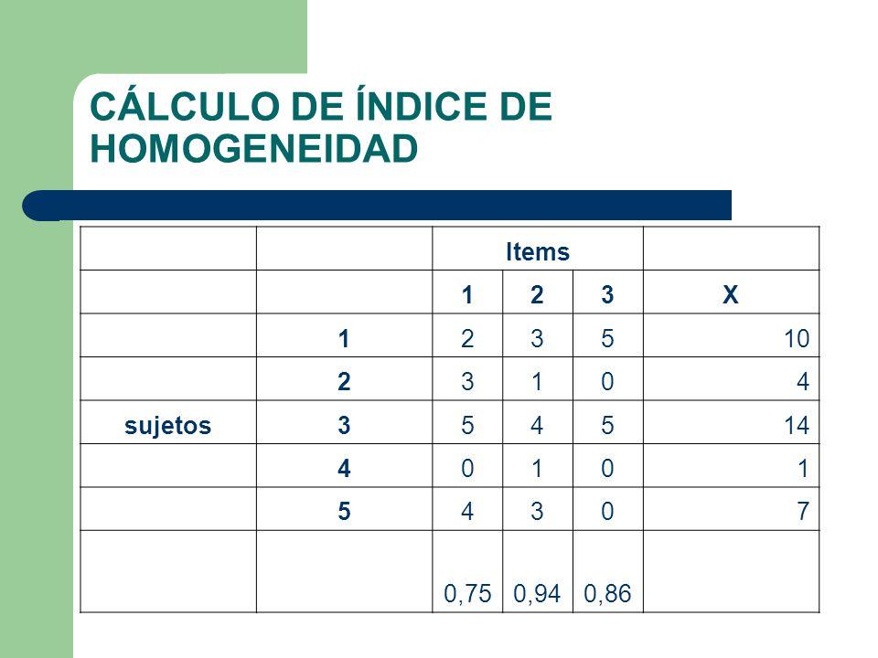 CÁLCULO DE ÍNDICE DE HOMOGENEIDAD