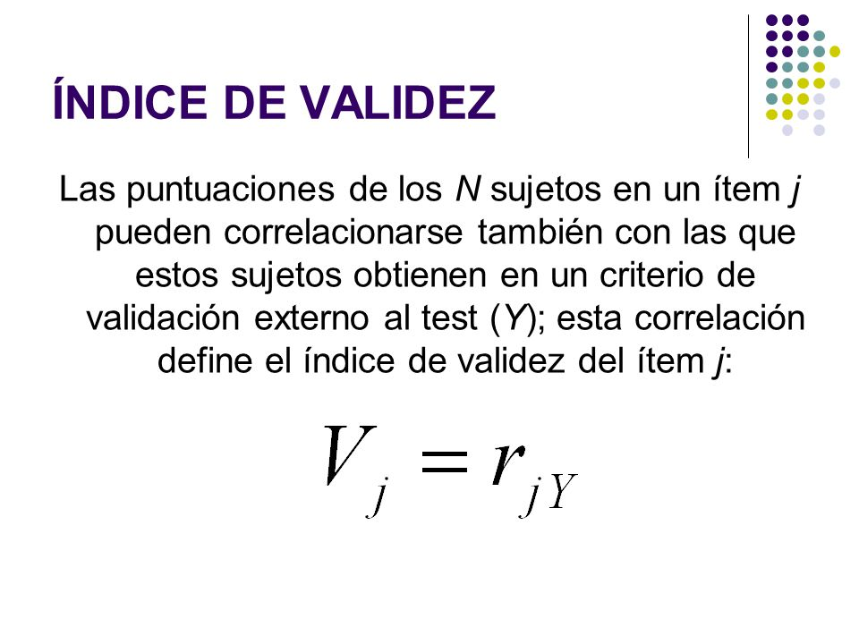 ÍNDICE DE VALIDEZ