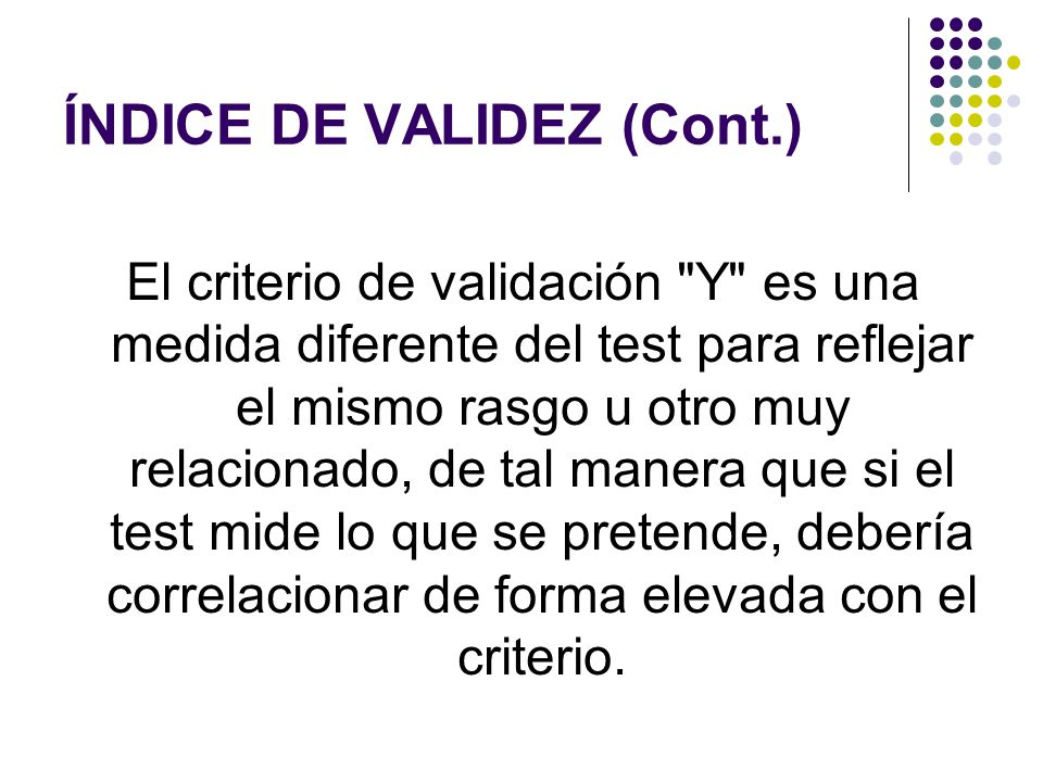 ÍNDICE DE VALIDEZ (Cont.)