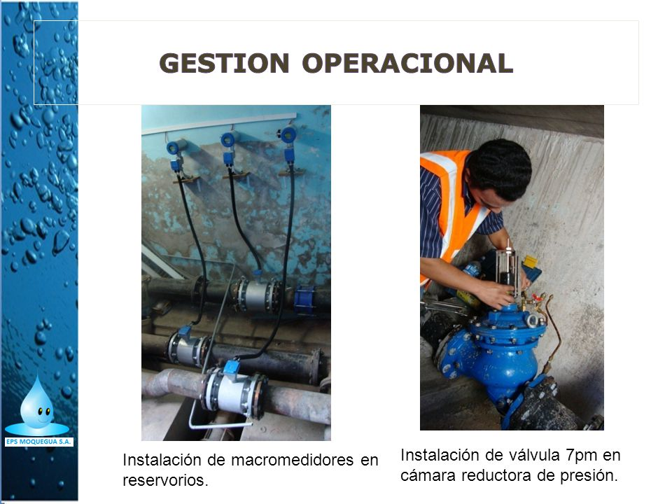 GESTION OPERACIONAL Instalación de válvula 7pm en cámara reductora de presión.