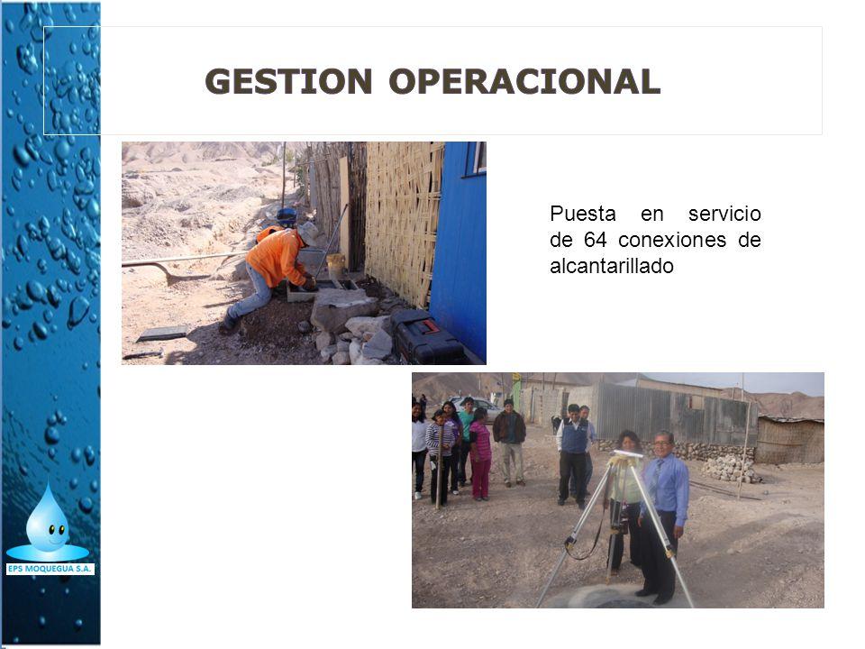 GESTION OPERACIONAL Puesta en servicio de 64 conexiones de alcantarillado