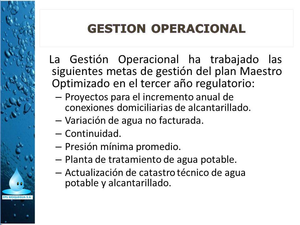 GESTION OPERACIONAL La Gestión Operacional ha trabajado las siguientes metas de gestión del plan Maestro Optimizado en el tercer año regulatorio: