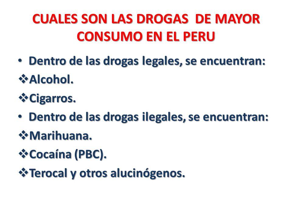CUALES SON LAS DROGAS DE MAYOR CONSUMO EN EL PERU