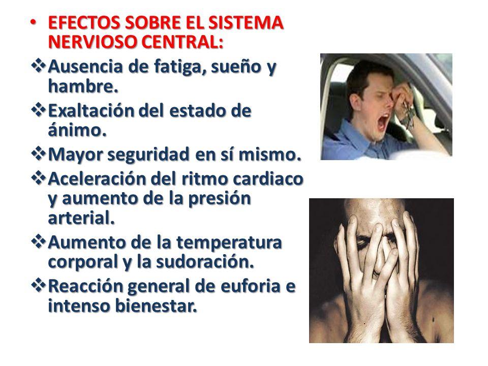 EFECTOS SOBRE EL SISTEMA NERVIOSO CENTRAL: