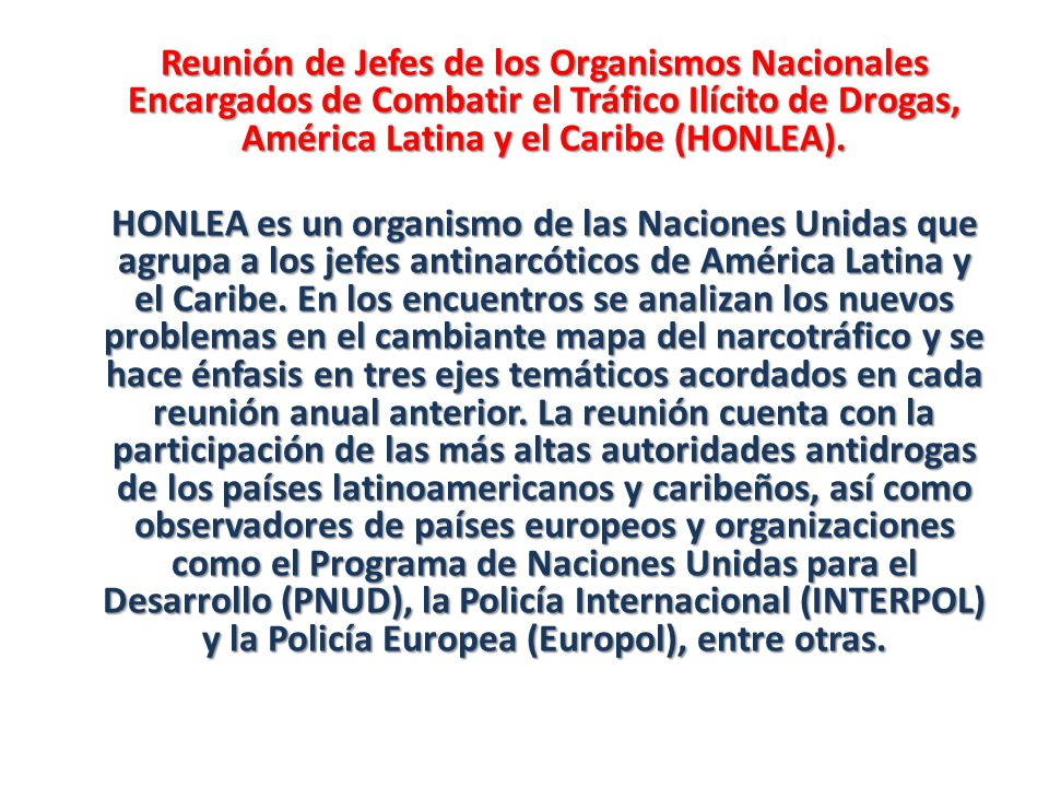Reunión de Jefes de los Organismos Nacionales Encargados de Combatir el Tráfico Ilícito de Drogas, América Latina y el Caribe (HONLEA).