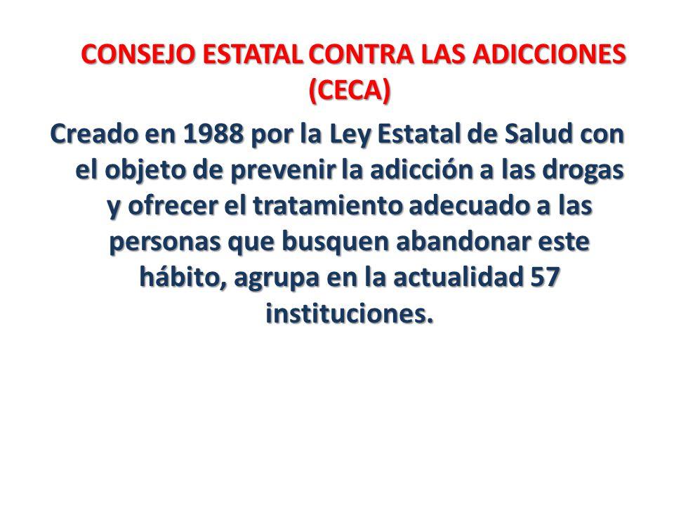 CONSEJO ESTATAL CONTRA LAS ADICCIONES (CECA) Creado en 1988 por la Ley Estatal de Salud con el objeto de prevenir la adicción a las drogas y ofrecer el tratamiento adecuado a las personas que busquen abandonar este hábito, agrupa en la actualidad 57 instituciones.