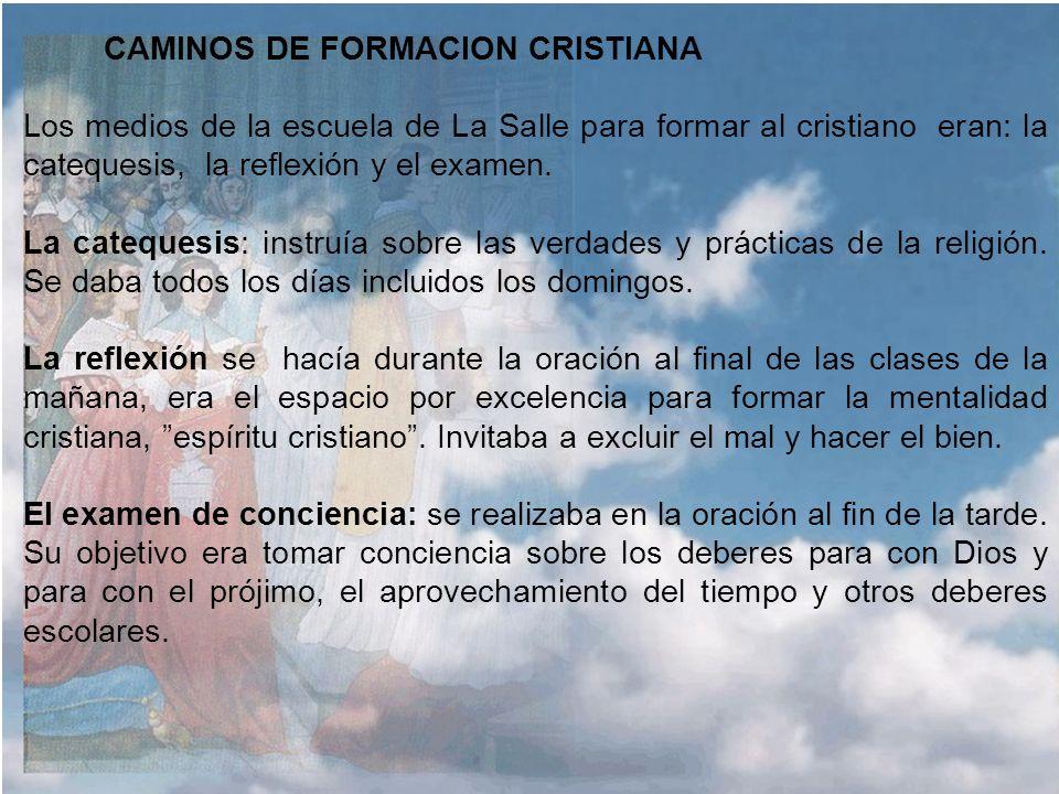 CAMINOS DE FORMACION CRISTIANA