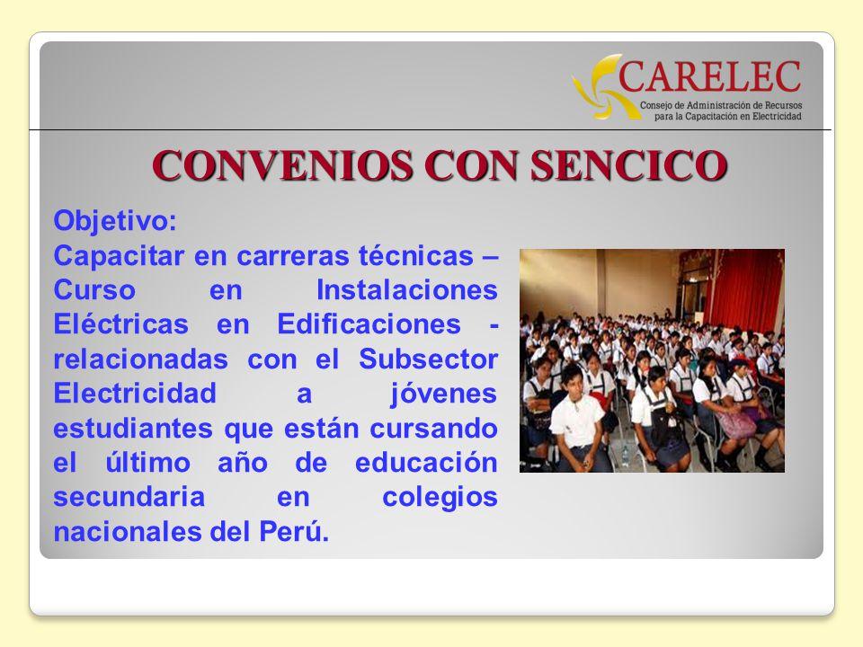 CONVENIOS CON SENCICO Objetivo: