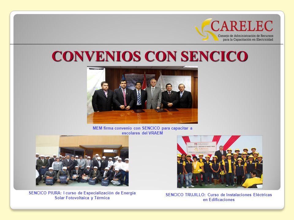 CONVENIOS CON SENCICO MEM firma convenio con SENCICO para capacitar a escolares del VRAEM.