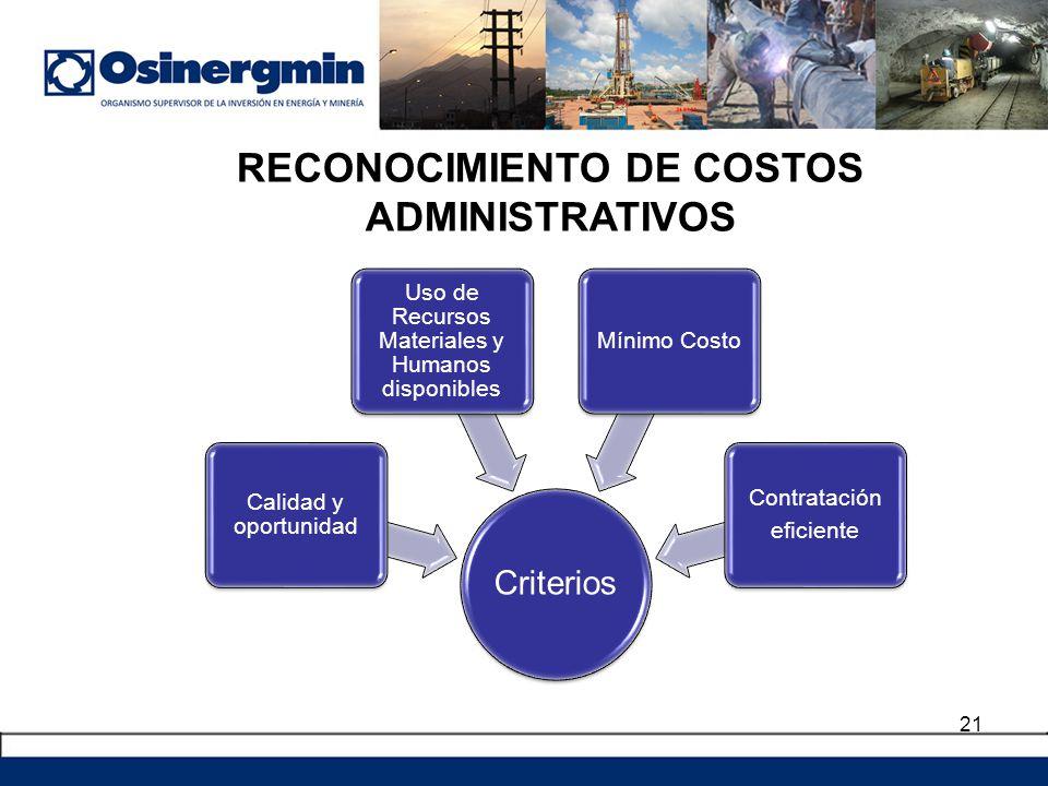 RECONOCIMIENTO DE COSTOS ADMINISTRATIVOS