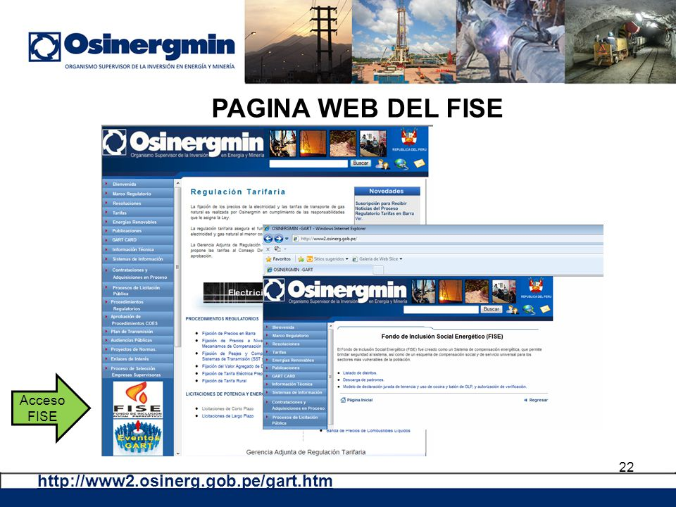 PAGINA WEB DEL FISE Acceso FISE http://www2.osinerg.gob.pe/gart.htm