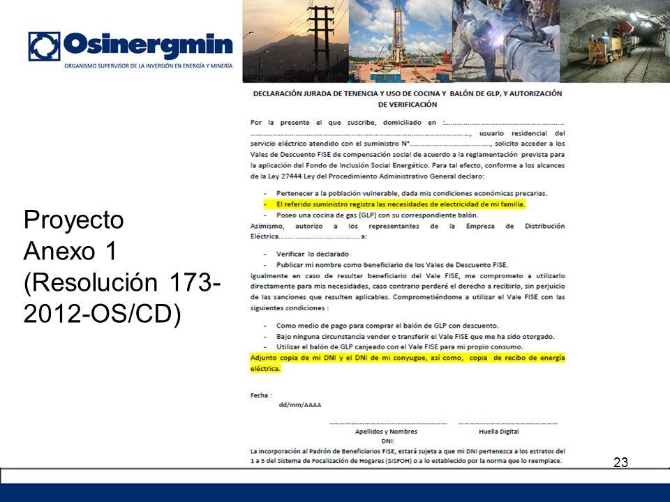 Proyecto Anexo 1 (Resolución 173- 2012-OS/CD)