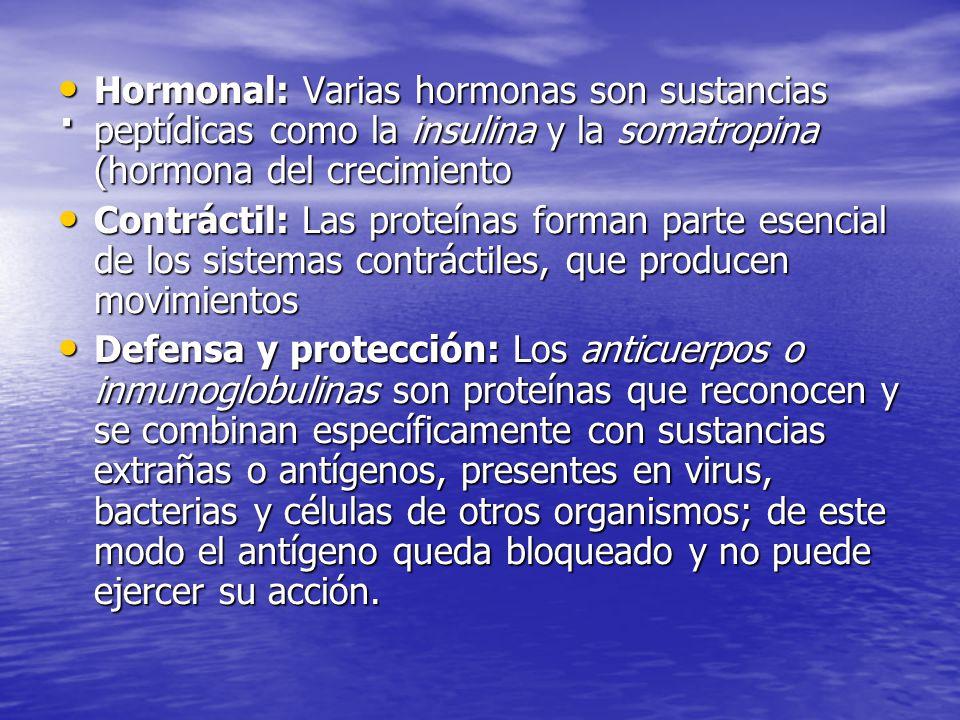 . Hormonal: Varias hormonas son sustancias peptídicas como la insulina y la somatropina (hormona del crecimiento.