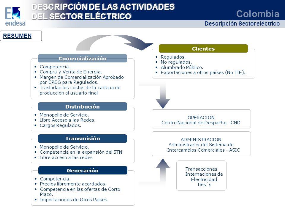 DESCRIPCIÓN DE LAS ACTIVIDADES DEL SECTOR ELÉCTRICO