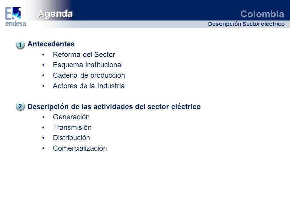 Agenda Antecedentes Reforma del Sector Esquema institucional