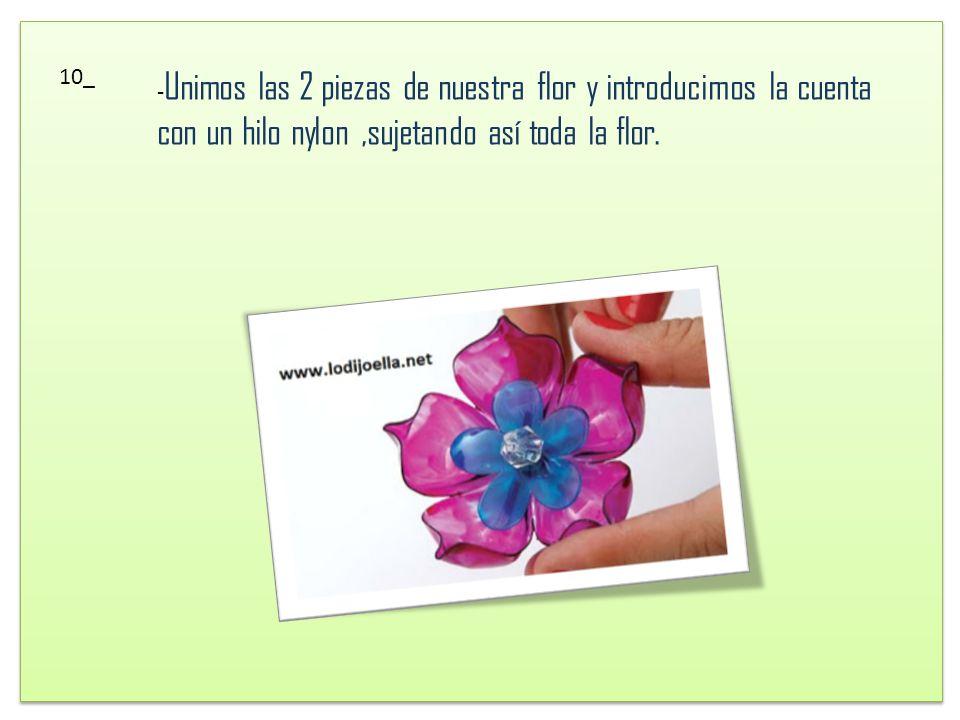 10_ -Unimos las 2 piezas de nuestra flor y introducimos la cuenta con un hilo nylon ,sujetando así toda la flor.