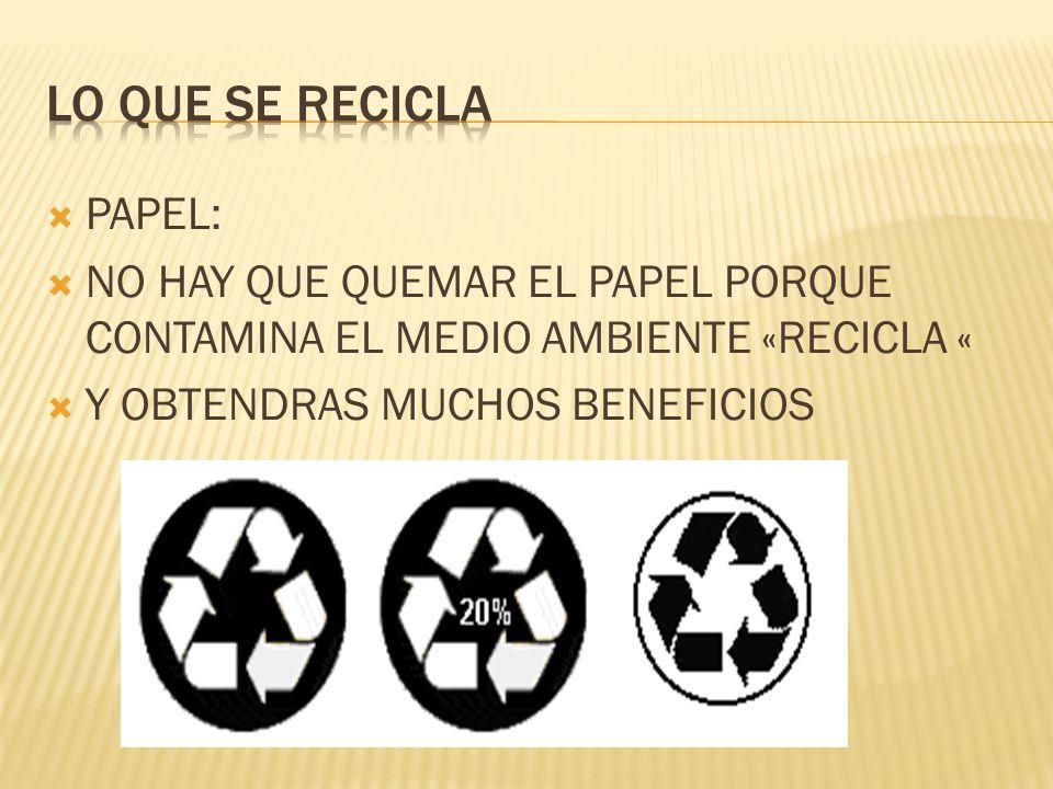 Lo que se recicla PAPEL: