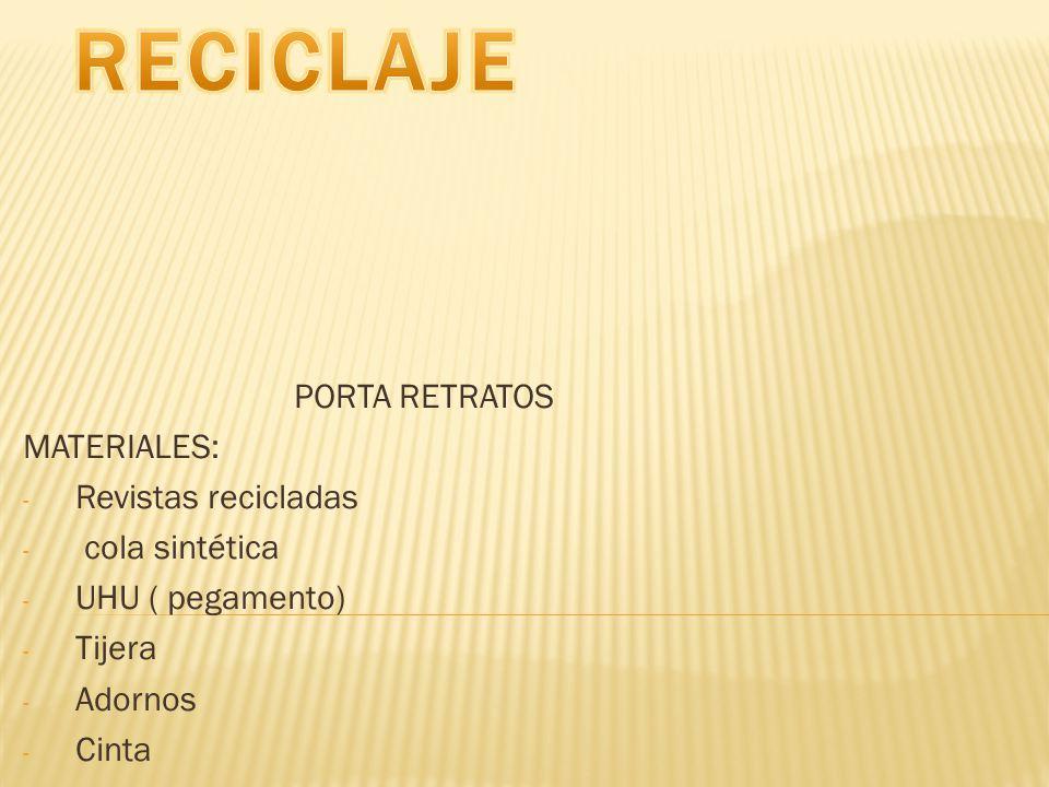 RECICLAJE PORTA RETRATOS MATERIALES: Revistas recicladas