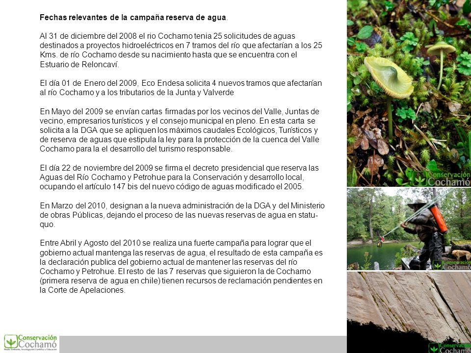 Fechas relevantes de la campaña reserva de agua.