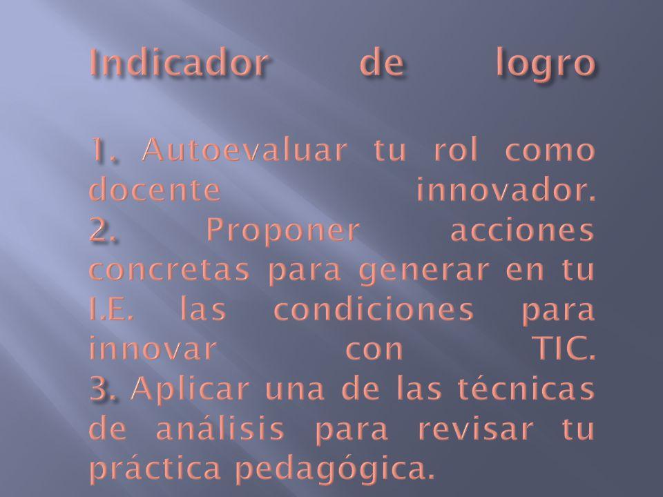 Indicador de logro 1. Autoevaluar tu rol como docente innovador. 2