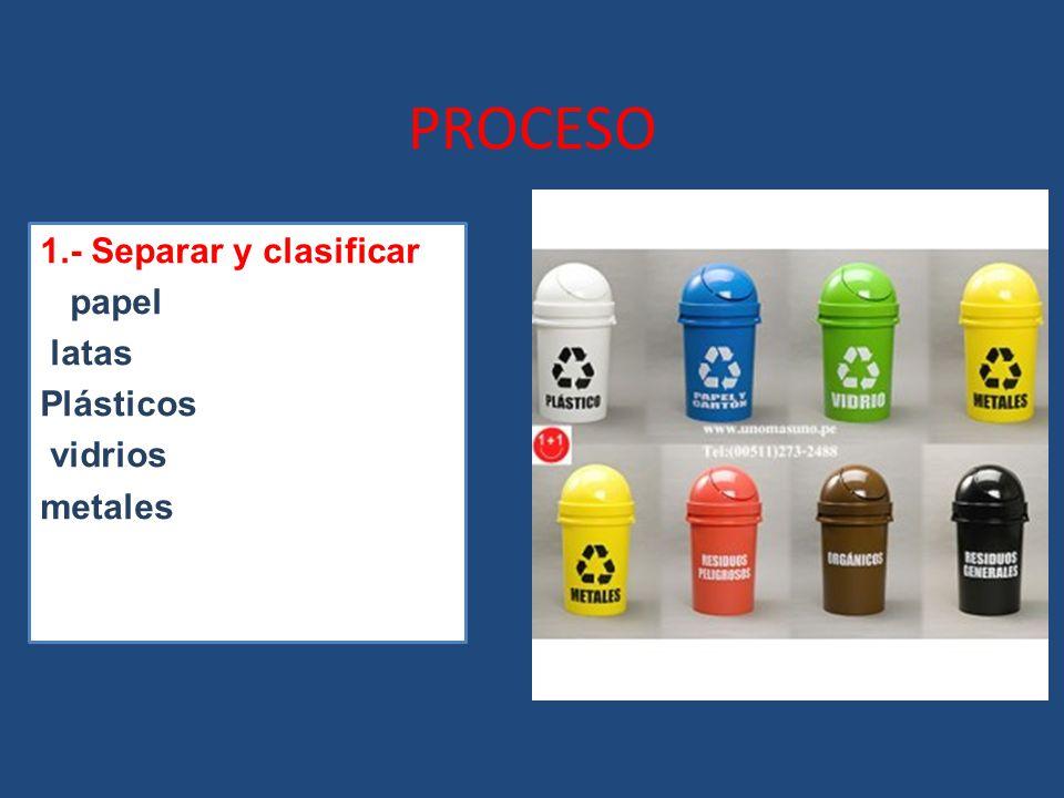 1.- Separar y clasificar e papel latas Plásticos vidrios metales