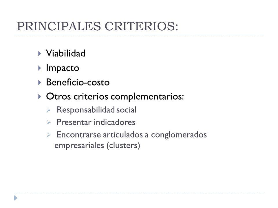 PRINCIPALES CRITERIOS: