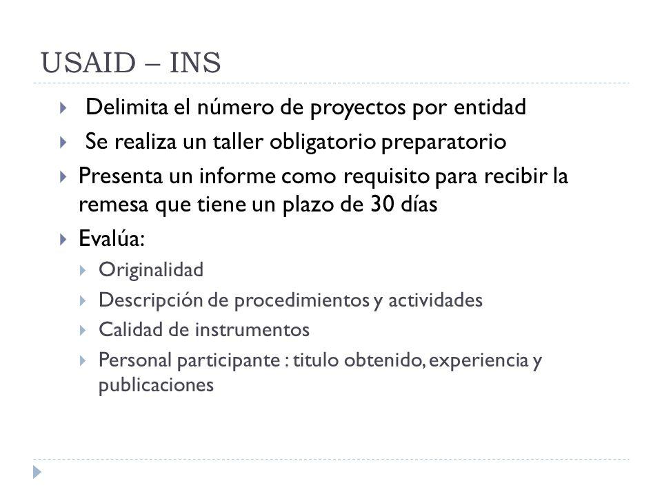 USAID – INS Delimita el número de proyectos por entidad