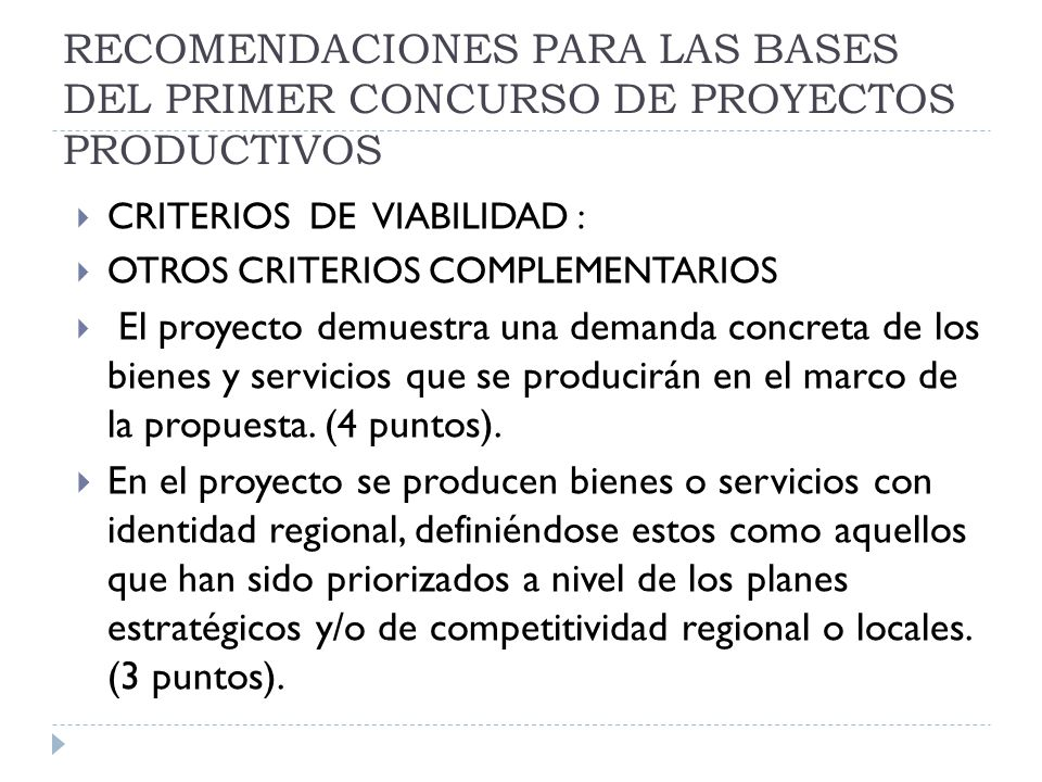 RECOMENDACIONES PARA LAS BASES DEL PRIMER CONCURSO DE PROYECTOS PRODUCTIVOS