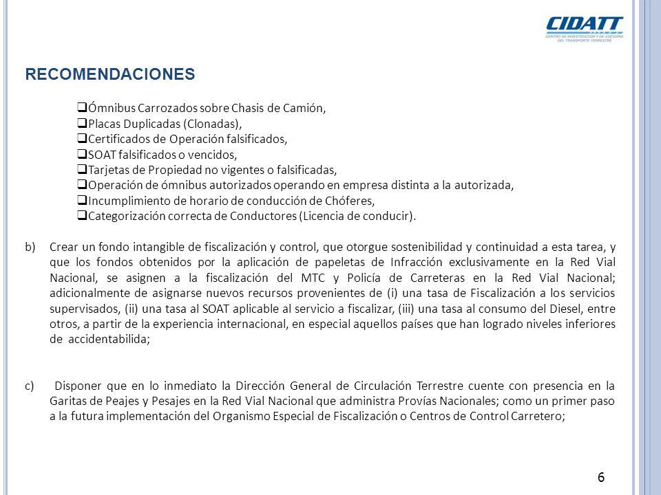 RECOMENDACIONES Ómnibus Carrozados sobre Chasis de Camión,
