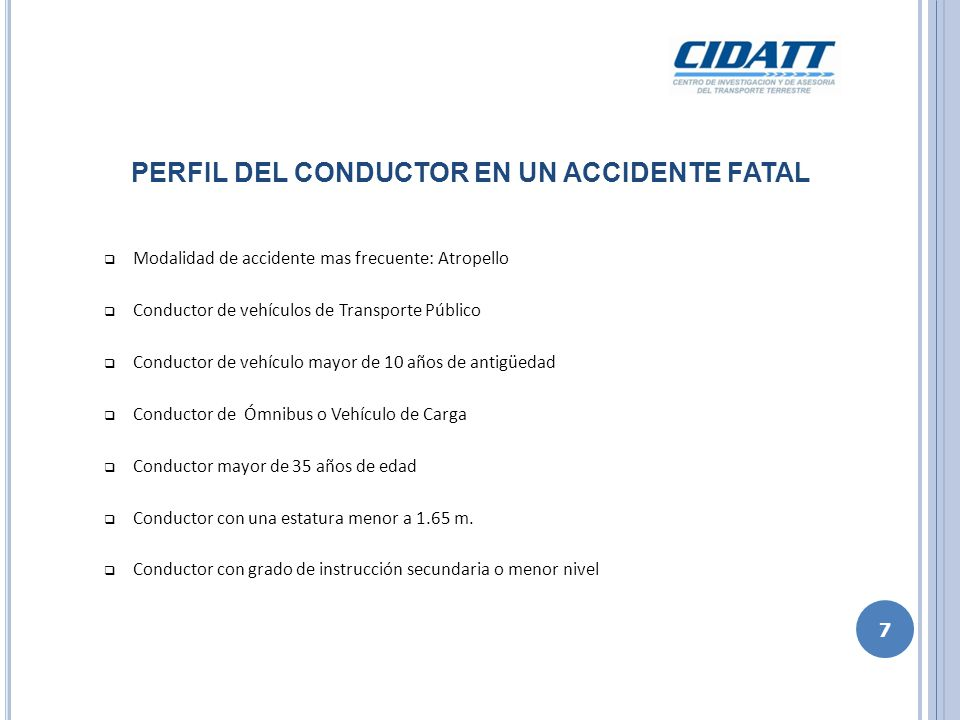 PERFIL DEL CONDUCTOR EN UN ACCIDENTE FATAL