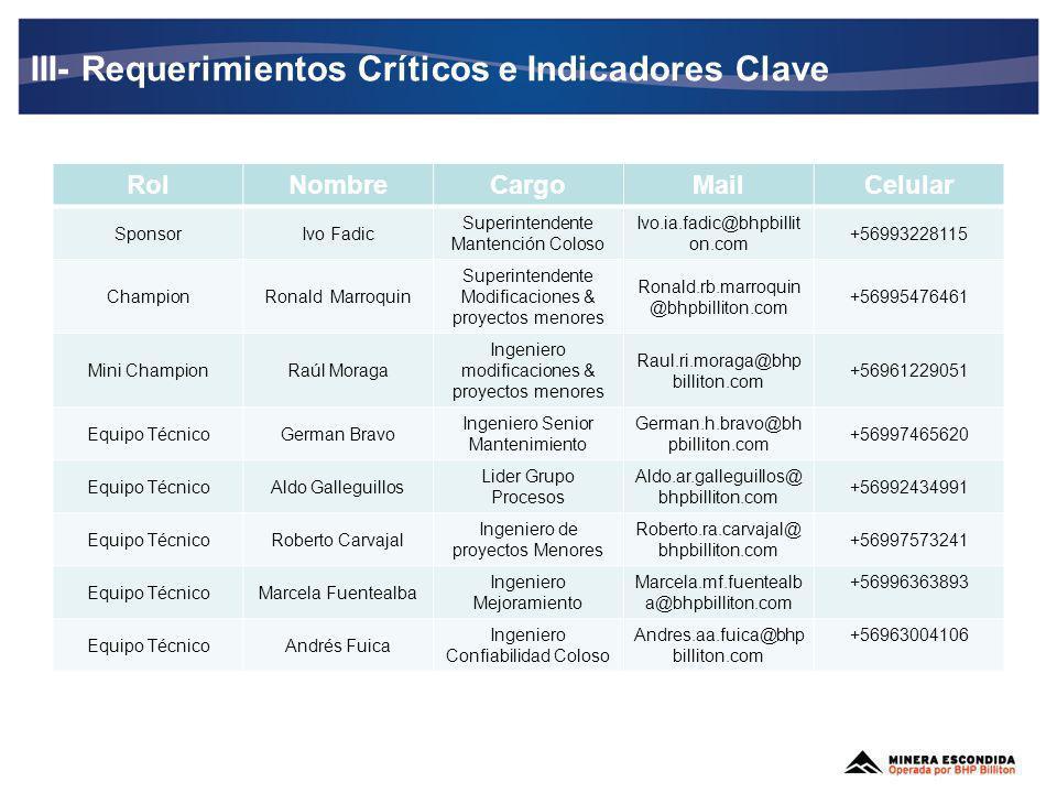 III- Requerimientos Críticos e Indicadores Clave