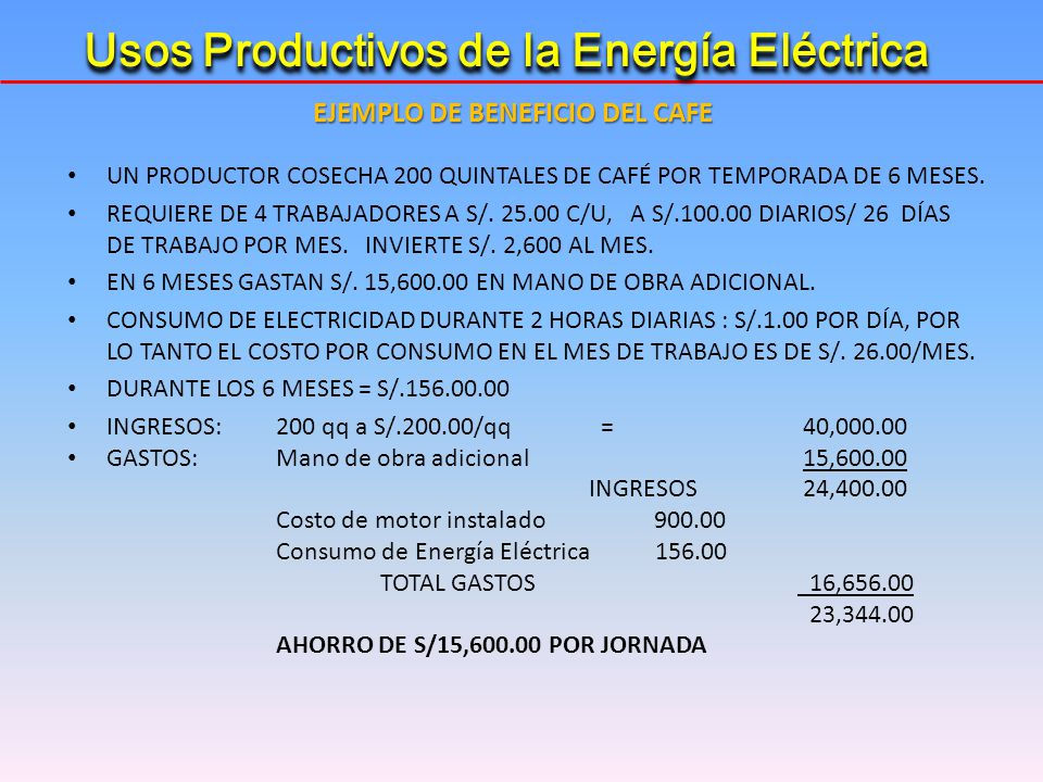 EJEMPLO DE BENEFICIO DEL CAFE