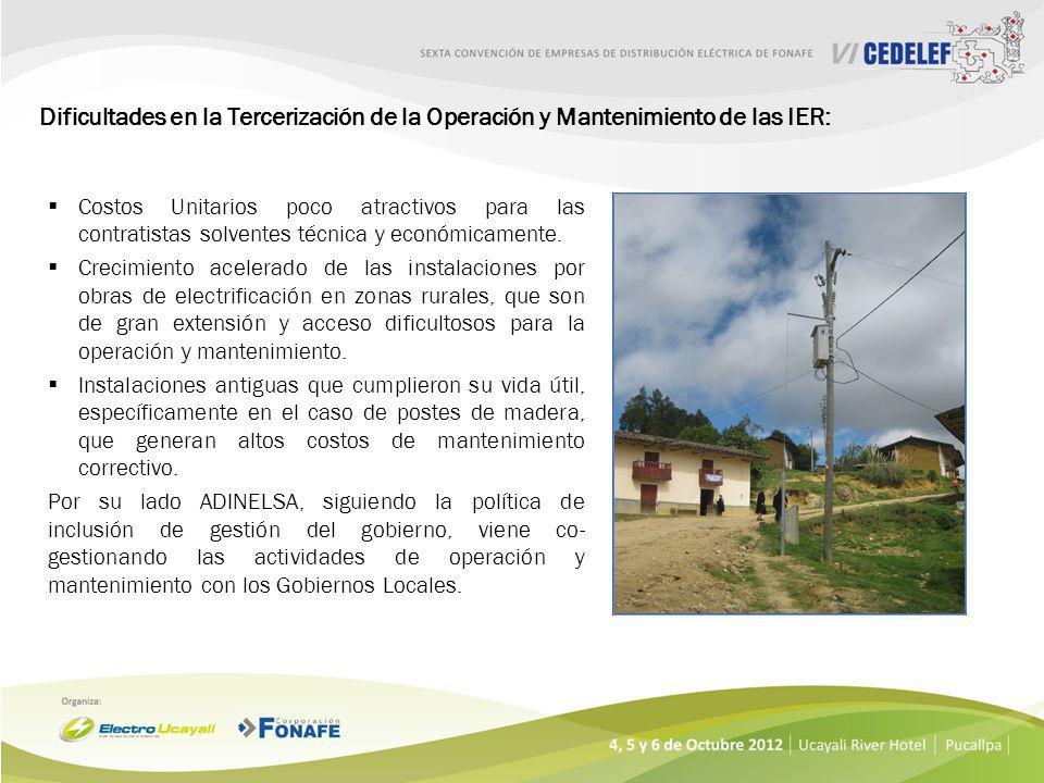 Dificultades en la Tercerización de la Operación y Mantenimiento de las IER: