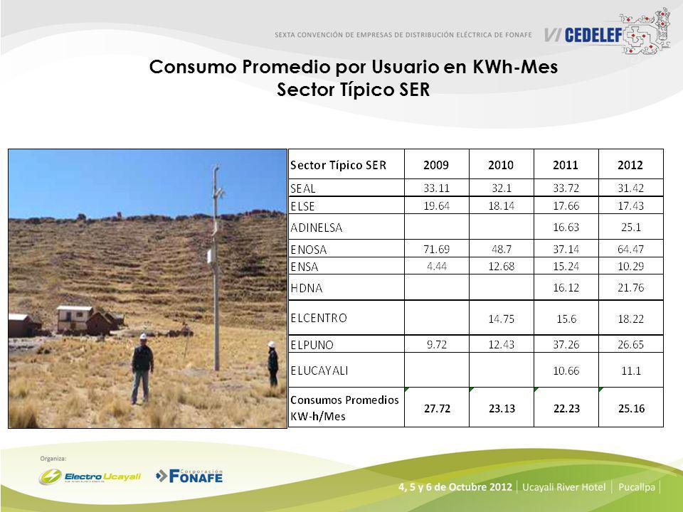 Consumo Promedio por Usuario en KWh-Mes