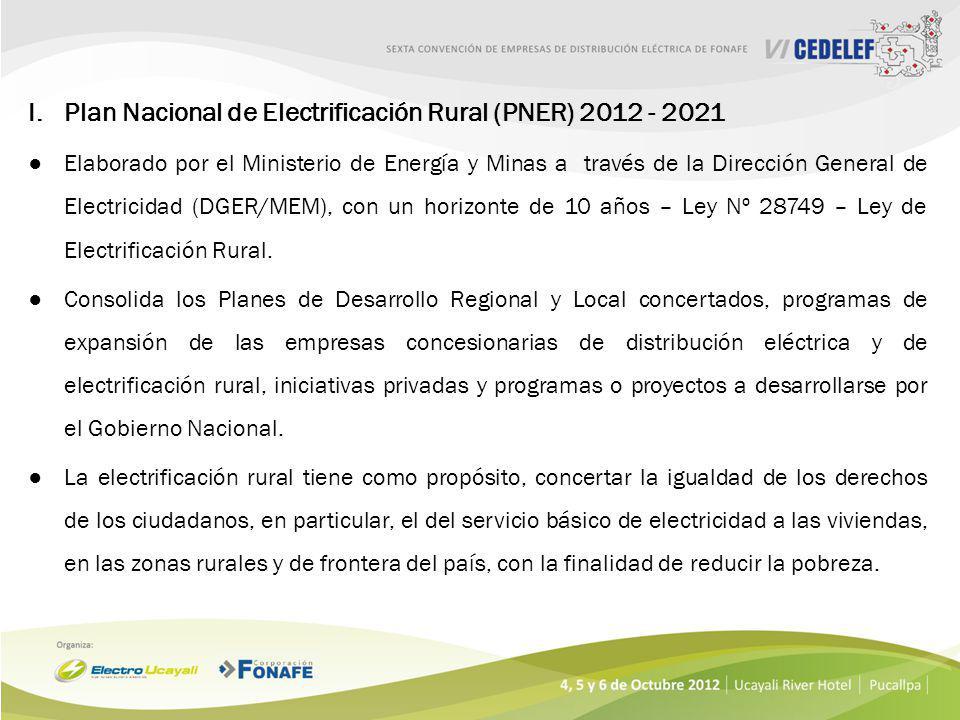 I. Plan Nacional de Electrificación Rural (PNER) 2012 - 2021